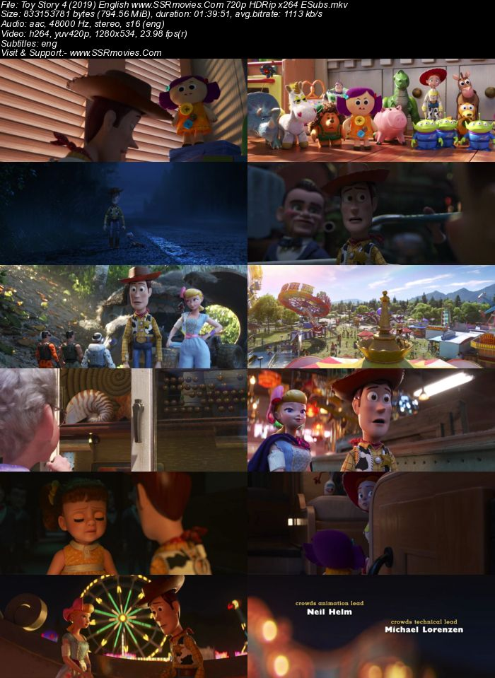 Toy Story 4 (2019) English 720p HDRip x264 800MB ESubs Movie Download