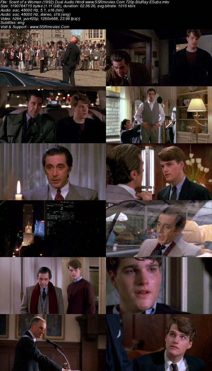 Scent of a Woman (1992) Dual Audio Hindi 720p BluRay 1.1GB ESubs Movie Download