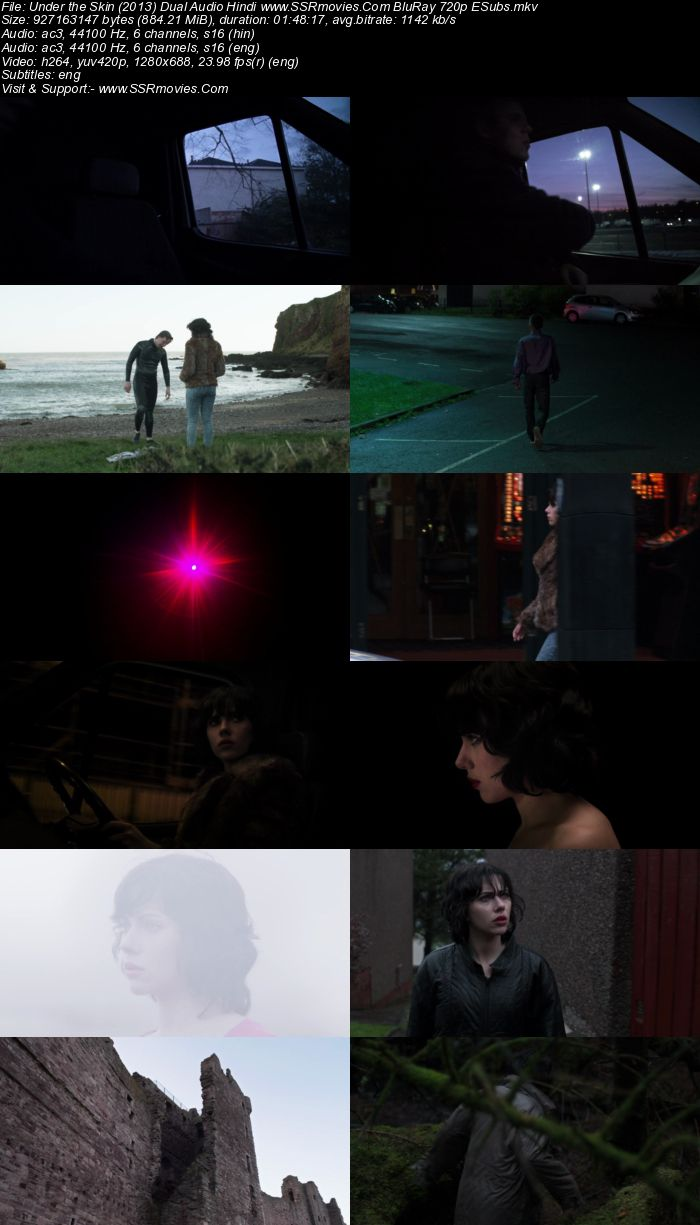Under the Skin (2013) Dual Audio Hindi 720p BluRay 850MB ESubs Movie Download