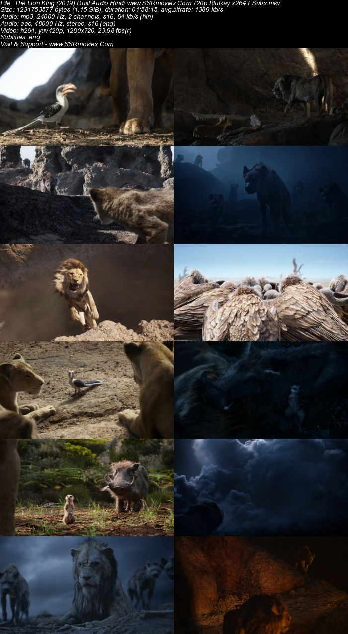The Lion King (2019) Dual Audio Hindi 720p BluRay x264 1.2GB ESubs Movie Download
