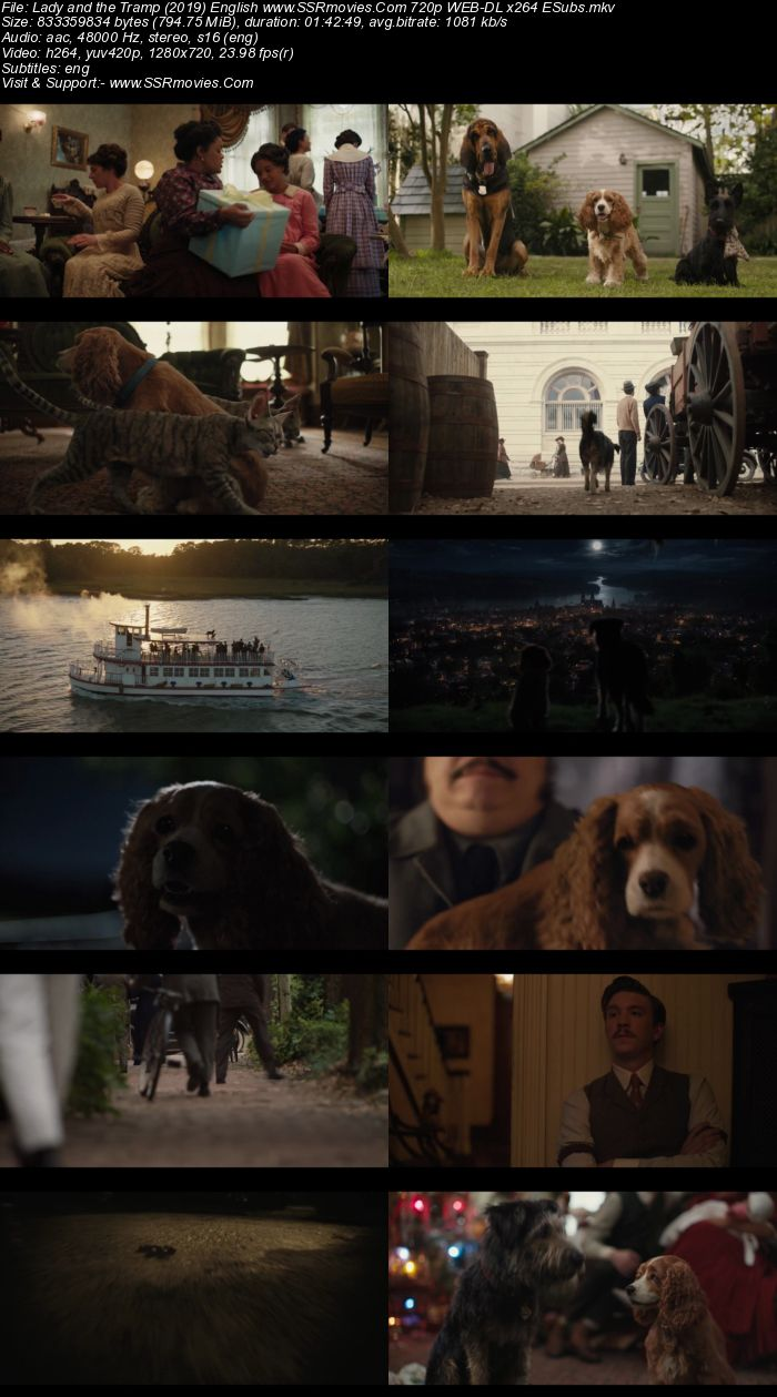 Lady and the Tramp (2019) English 720p WEB-DL x264 800MB ESubs Movie Download