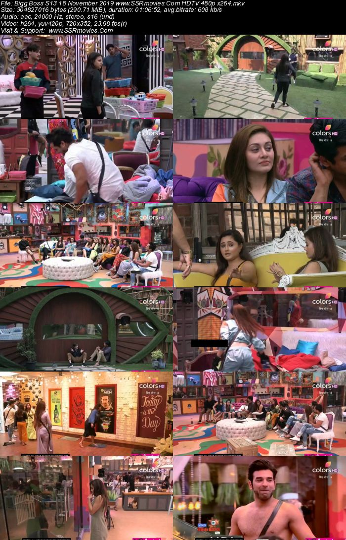 Bigg Boss S13 18 November 2019 HDTV 720p 480p 200MB Download