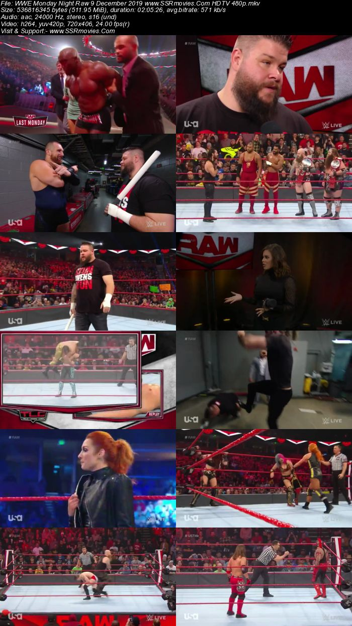 WWE Monday Night Raw 9 December 2019 Full Show Download HDTV WEBRip 480p 720p
