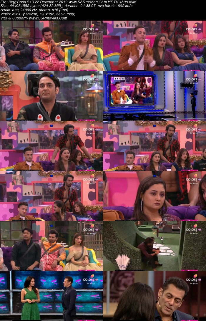 Bigg Boss S13 22 December 2019 HDTV 720p 480p 200MB Download