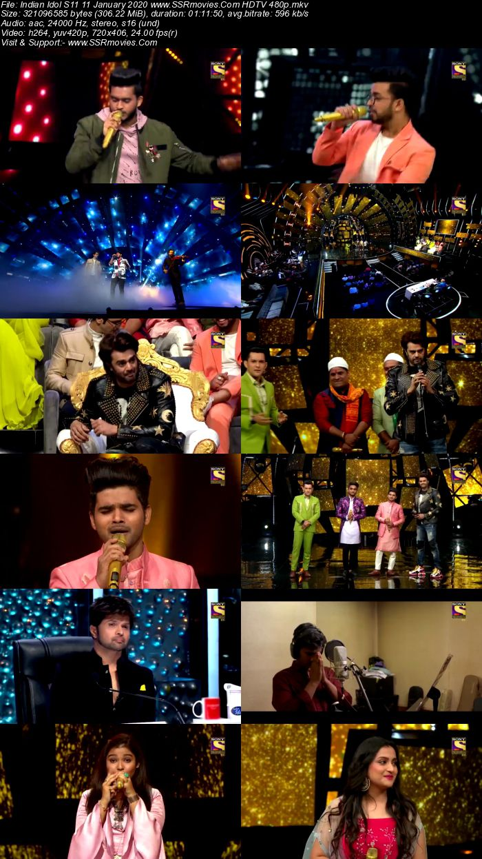 Indian Idol S11 11 January 2020 HDTV 720p 480p x264 300MB Download