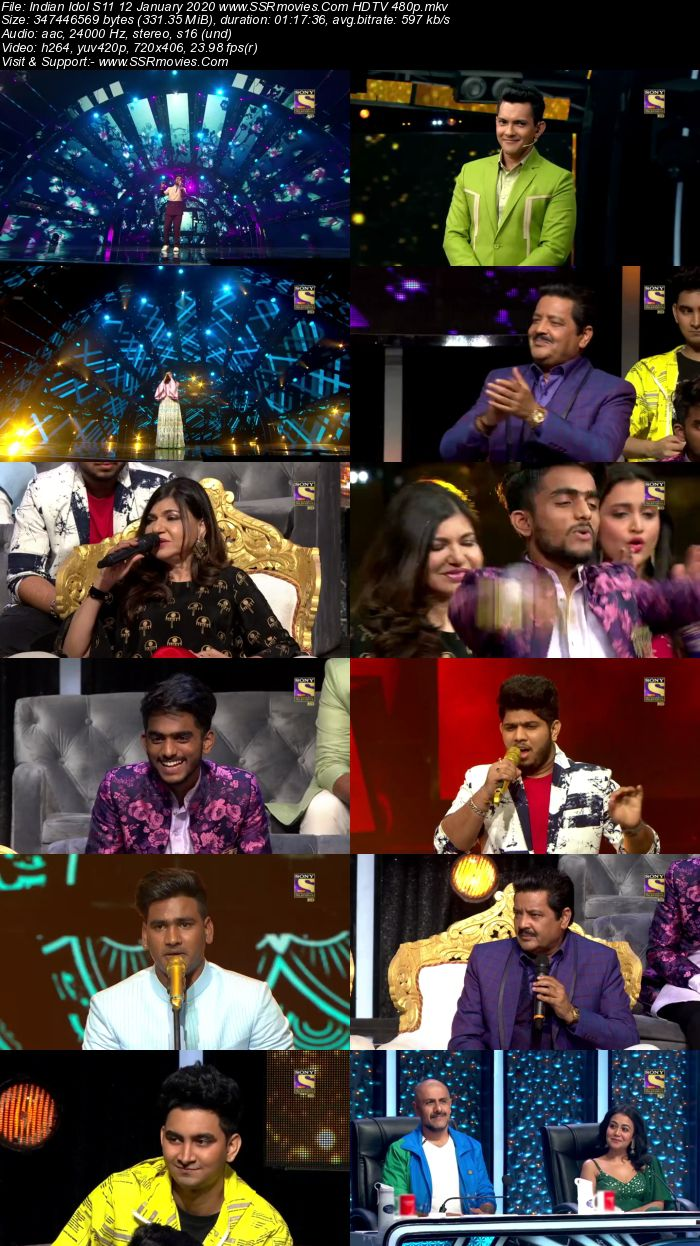 Indian Idol S11 12 January 2020 HDTV 720p 480p x264 300MB Download