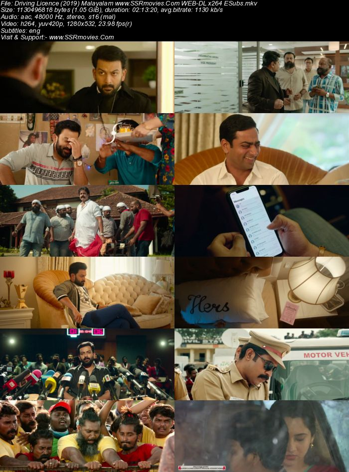 Driving Licence (2019) Malayalam 720p WEB-DL x264 1.1GB Full Movie Download