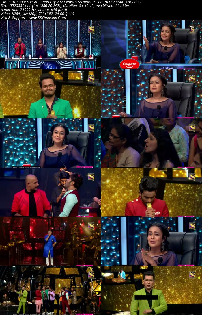 Indian Idol S11 8 February 2020 HDTV 720p 480p x264 300MB Download