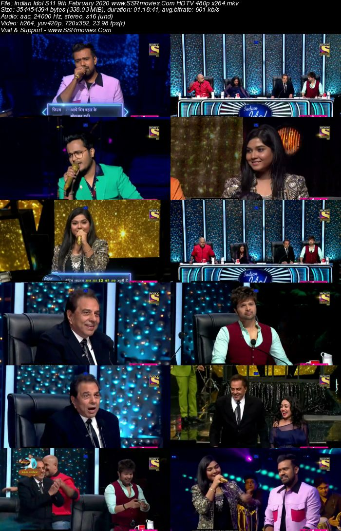 Indian Idol S11 9 February 2020 HDTV 720p 480p x264 300MB Download