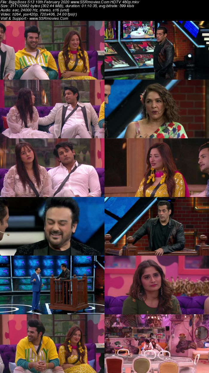 Bigg Boss S13 10th February 2020 HDTV 720p 480p 200MB Download