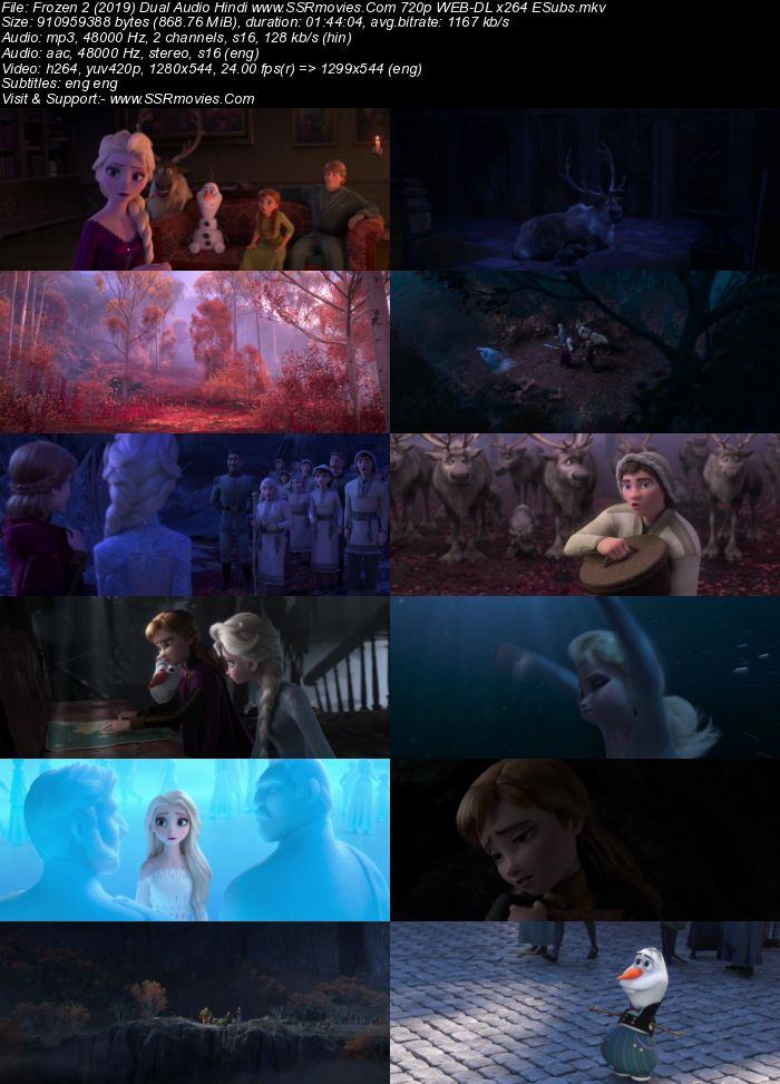 Frozen II (2019) Dual Audio Hindi 720p WEB-DL x264 850MB Full Movie Download