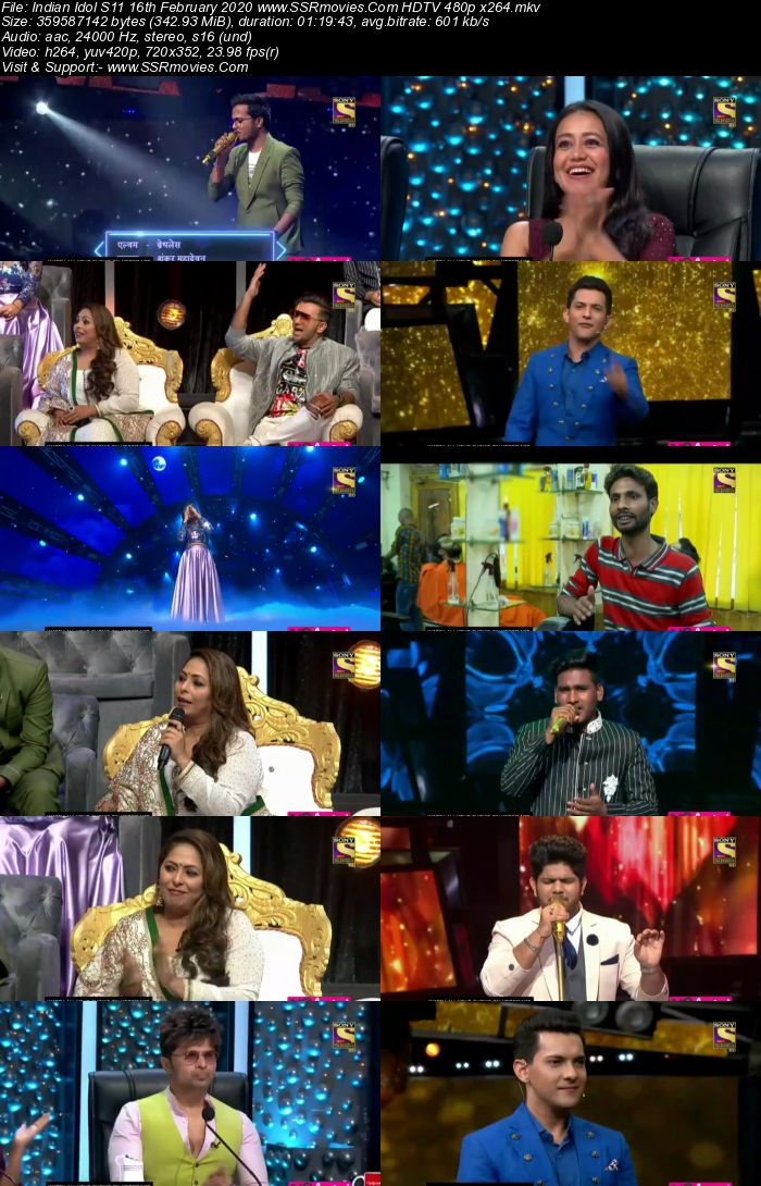 Indian Idol S11 16 February 2020 HDTV 720p 480p x264 300MB Download