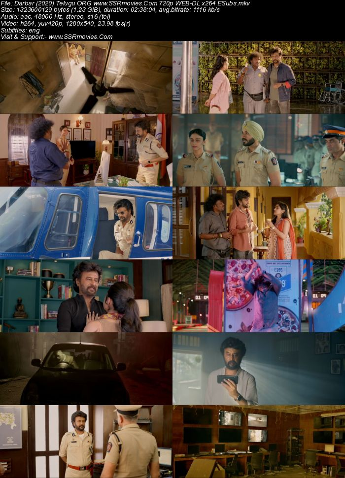Darbar (2020) Telugu ORG 480p WEB-DL x264 450MB ESubs Full Movie Download