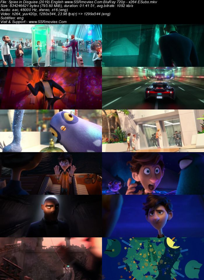 Spies in Disguise (2019) English 720p BluRay x264 800MB ESubs Full Movie Download