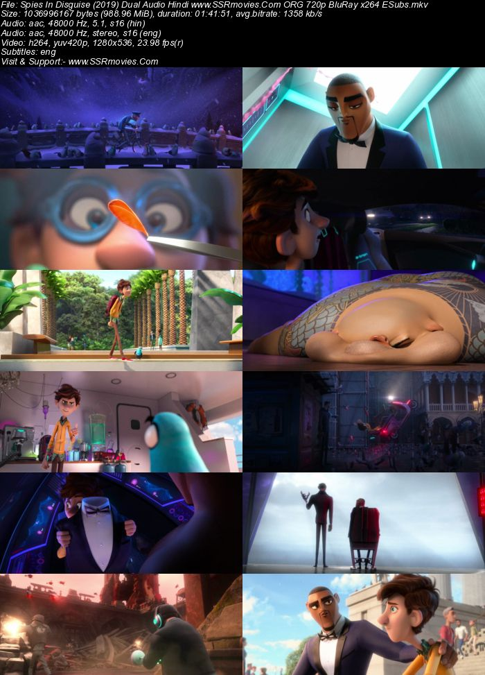 Spies in Disguise (2019) English 720p BluRay x264 950MB ESubs Full Movie Download