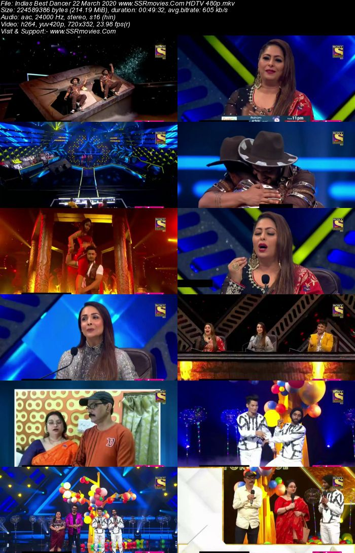 Indias Best Dancer 22 March 2020 HDTV 480p x264 300MB Download