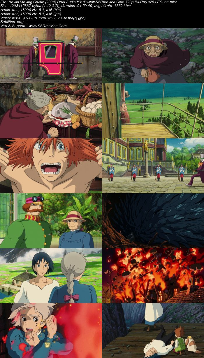 Howl's Moving Castle (2004) Dual Audio Hindi 720p BluRay x264 1.1GB Full Movie Download