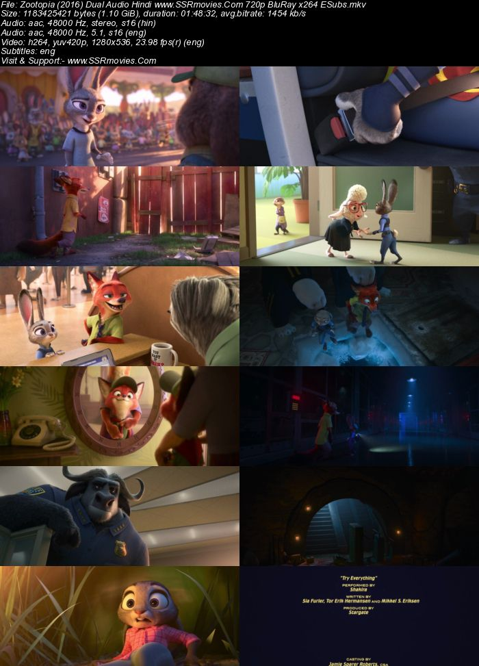 Zootopia (2016) Dual Audio Hindi 720p BluRay x264 1.1GB Full Movie Download