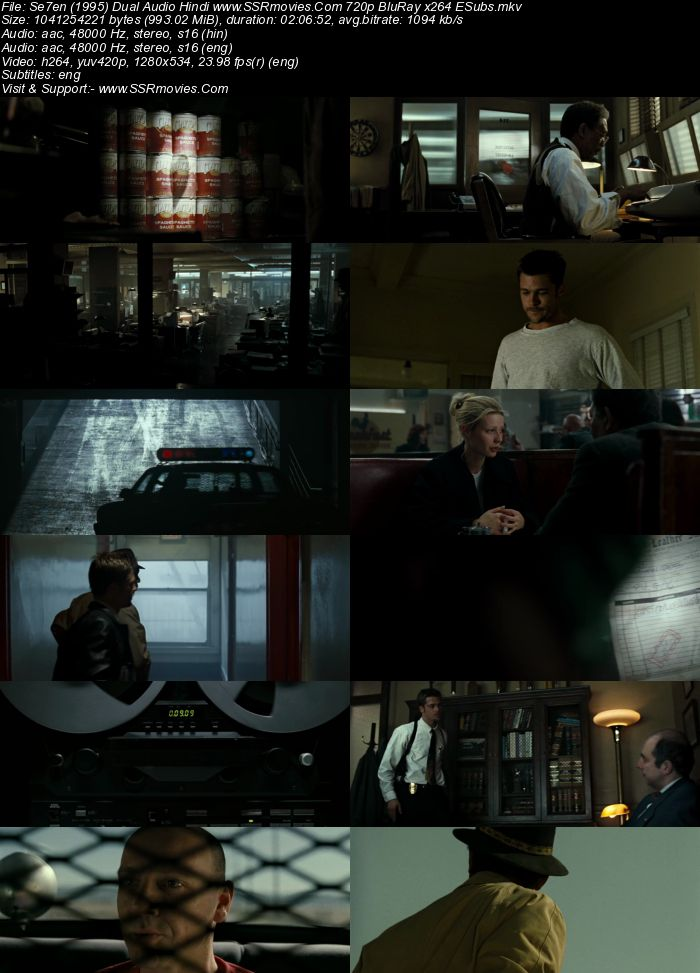 Se7en (1995) Dual Audio Hindi 720p BluRay x264 950MB Full Movie Download
