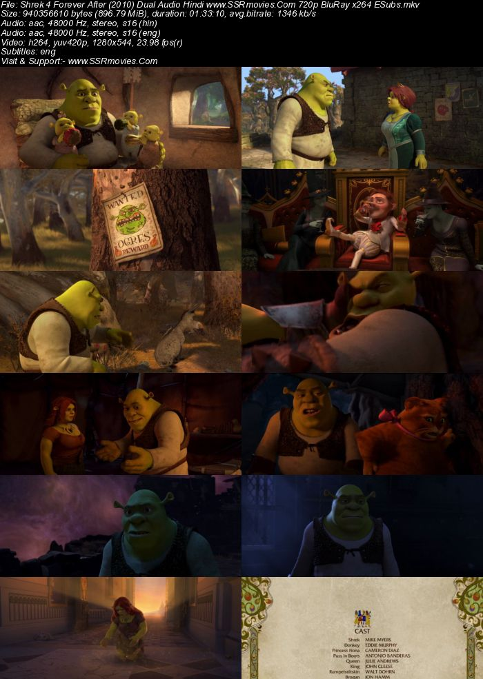 Shrek Forever After (2010) Dual Audio Hindi 720p BluRay x264 900MB Full Movie Download