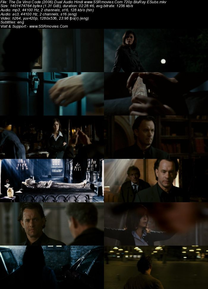The Da Vinci Code (2006) Dual Audio Hindi 720p BluRay x264 1.3GB Full Movie Download