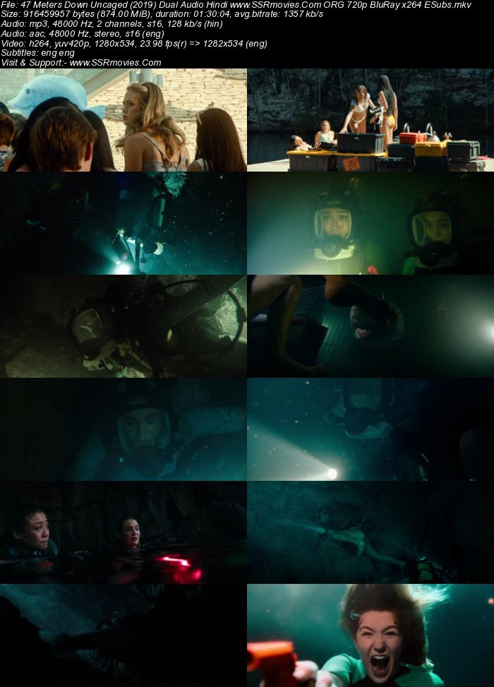 47 Meters Down: Uncaged (2019) Dual Audio Hindi 480p BluRay 300MB Full Movie Download
