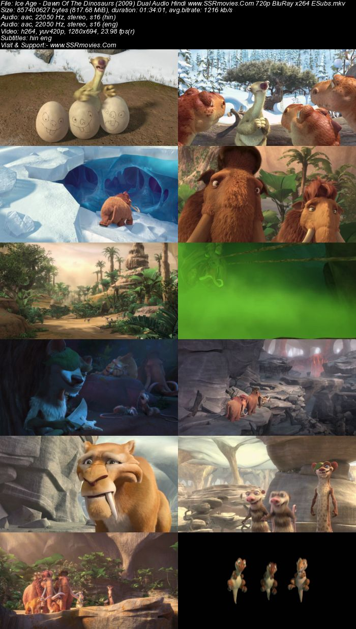 Ice Age: Dawn of the Dinosaurs (2009) Dual Audio Hindi 720p BluRay x264 800MB Full Movie Download