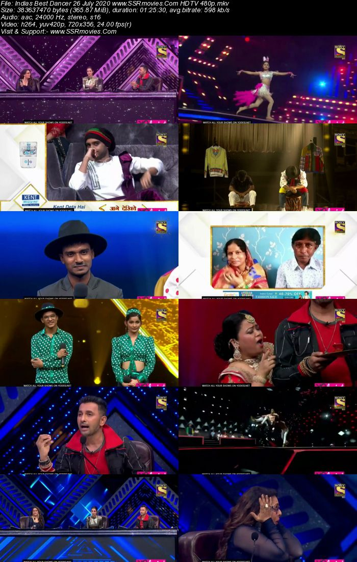 Indias Best Dancer 26 July 2020 HDTV 720p 480p x264 300MB Download