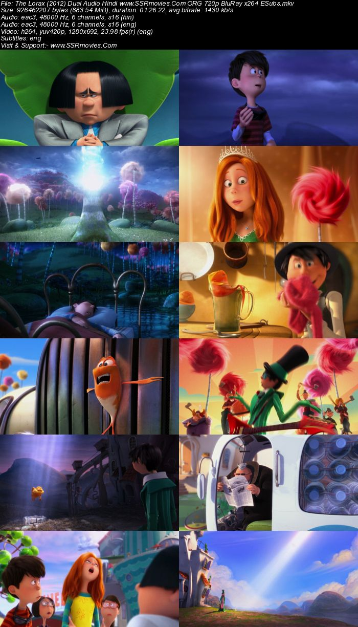 The Lorax (2012) Dual Audio Hindi 480p BluRay x264 300MB ESubs Full Movie Download