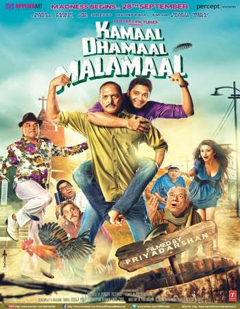 Kamaal Dhamaal Malamaal (2012) Hindi 400MB DVDRip 480p ESubs Free Download