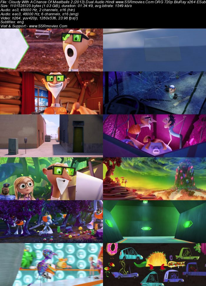 Cloudy With a Chance of Meatballs 2 (2013) Dual Audio Hindi 720p BluRay x264 1GB Full Movie Download