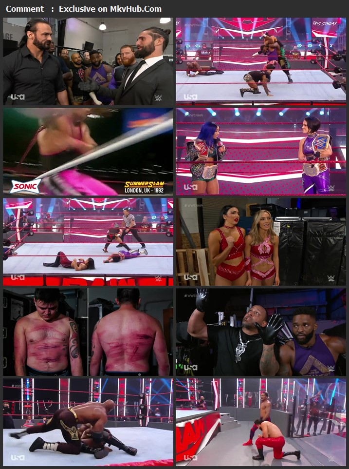 WWE Monday Night RAW 17 August 2020 720p HDTV x264 1.1GB Download