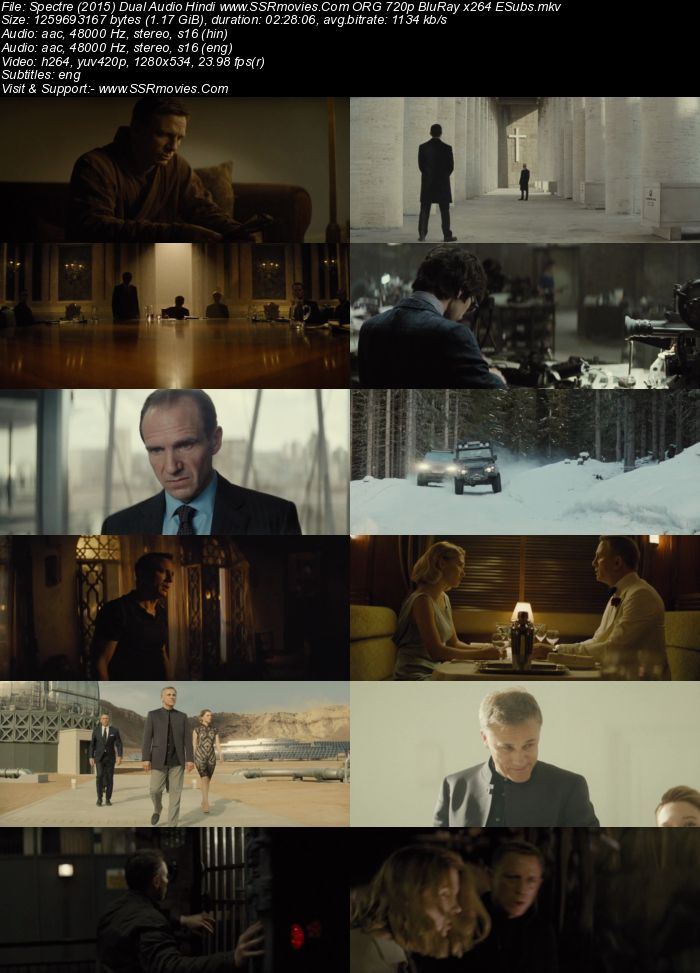 Spectre (2015) Dual Audio Hindi 480p BluRay x264 450MB ESubs Full Movie Download