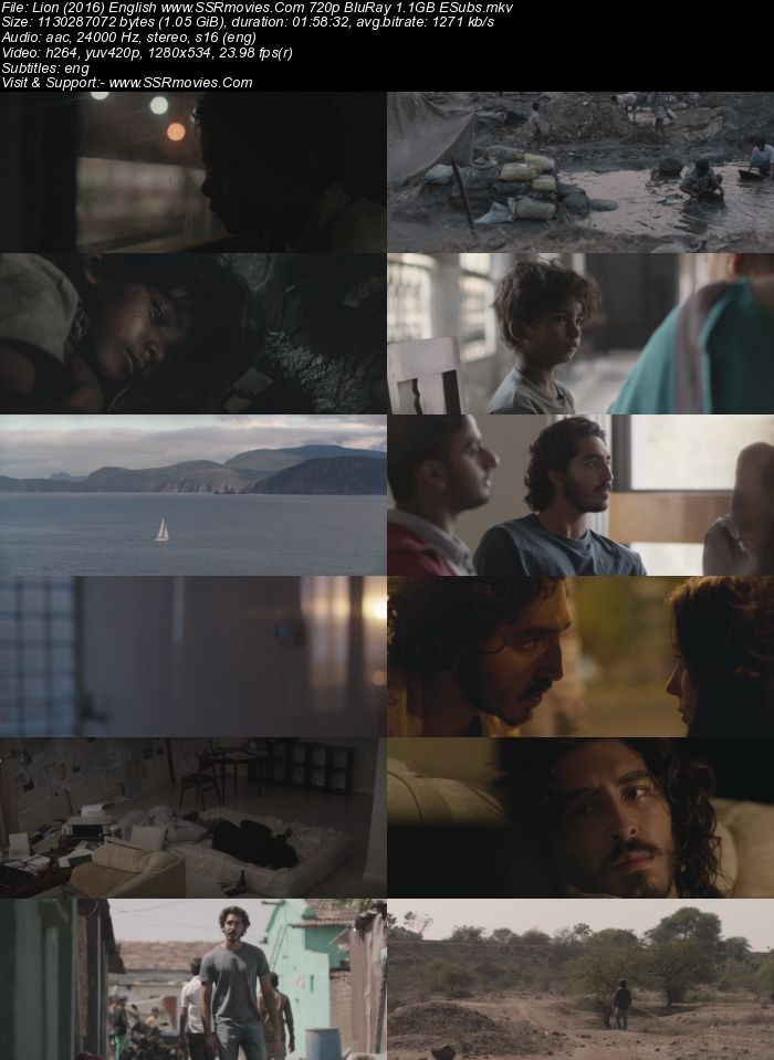 Lion (2016) English 480p BluRay x264 350MB ESubs Full Movie Download