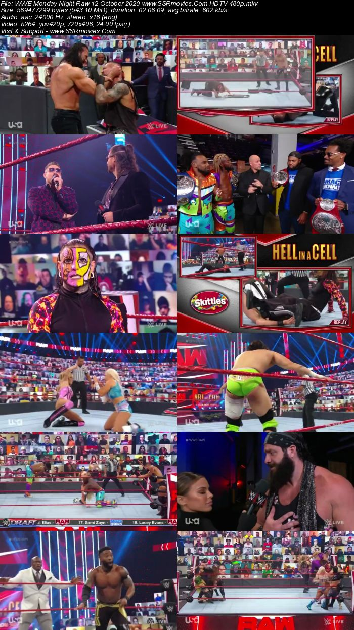 WWE Monday Night Raw 12 October 2020 HDTV 480p 720p Download