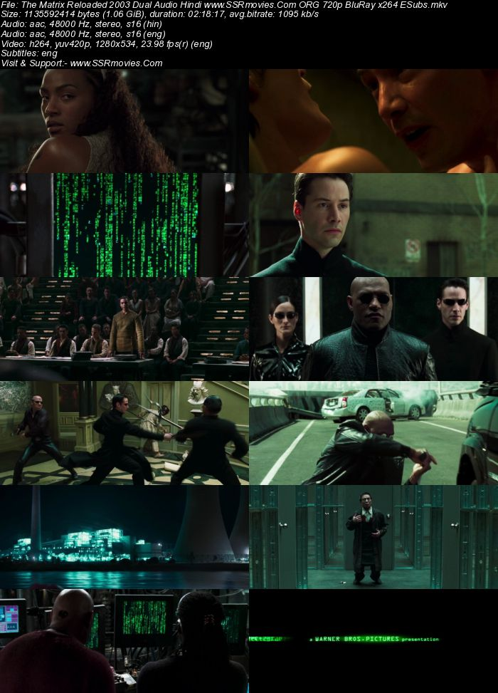 The Matrix Reloaded (2003) Dual Audio Hindi 720p BluRay x264 1.1GB Full Movie Download