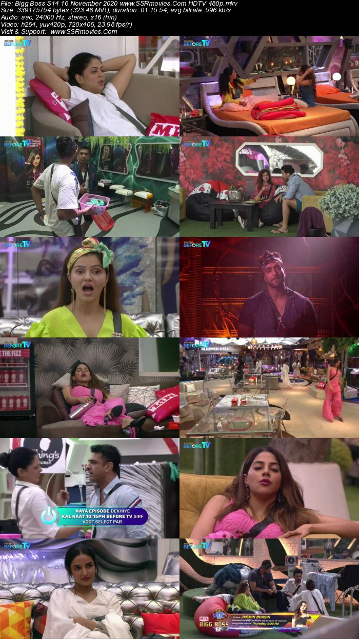 Bigg Boss S14 16 November 2020 HDTV 480p 720p 500MB Download