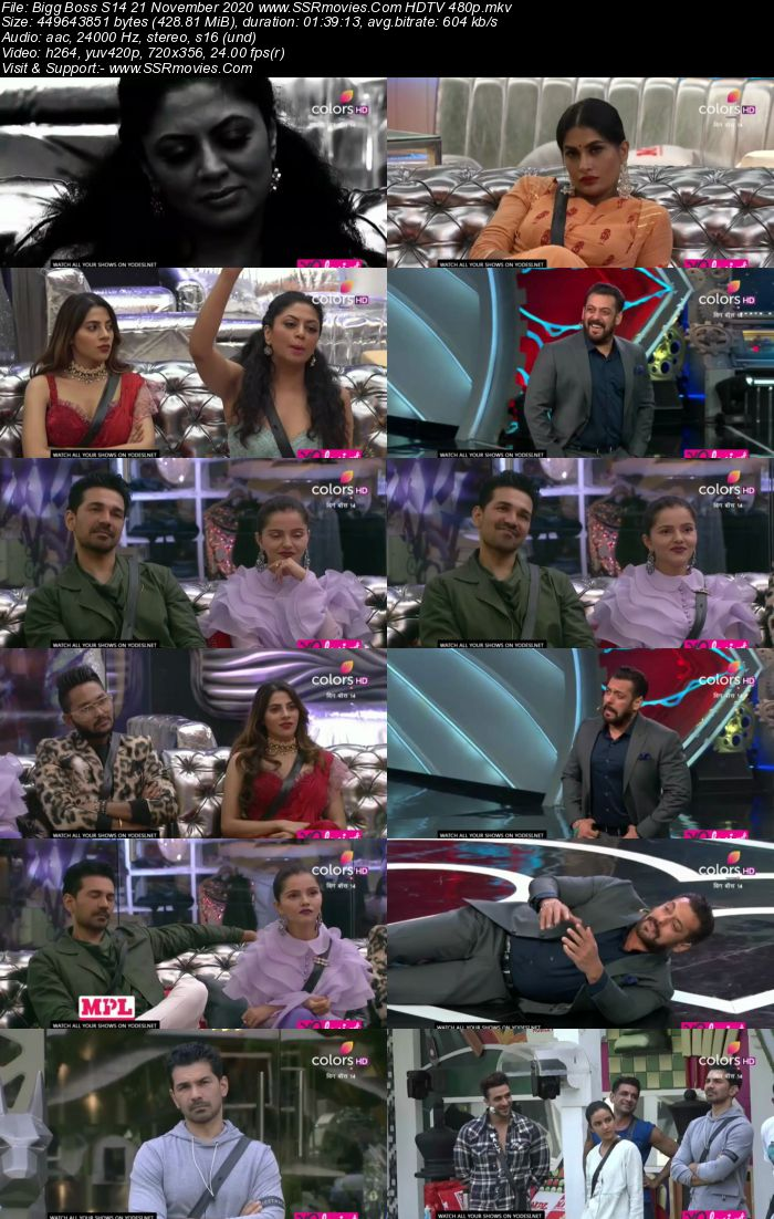 Bigg Boss S14 21 November 2020 HDTV 480p 720p 500MB Download