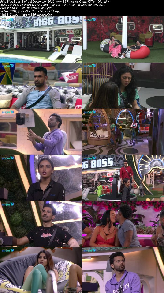 Bigg Boss S14 1st December 2020 HDTV 480p 720p 500MB Download