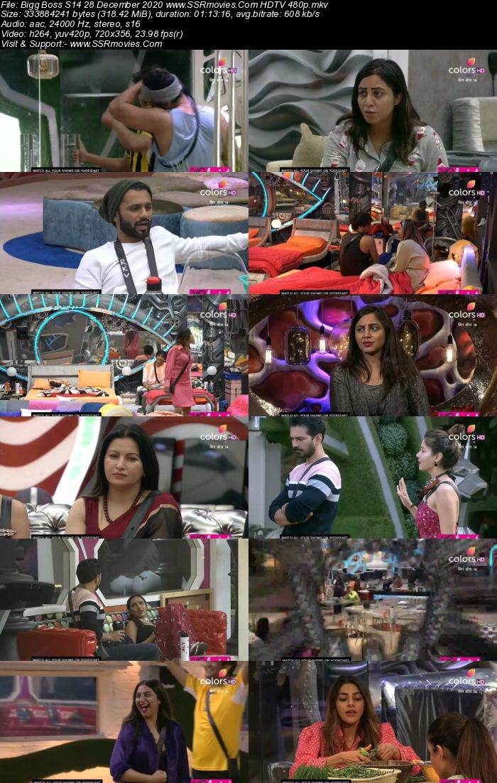 Bigg Boss S14 28 December 2020 HDTV 480p 720p 500MB Download