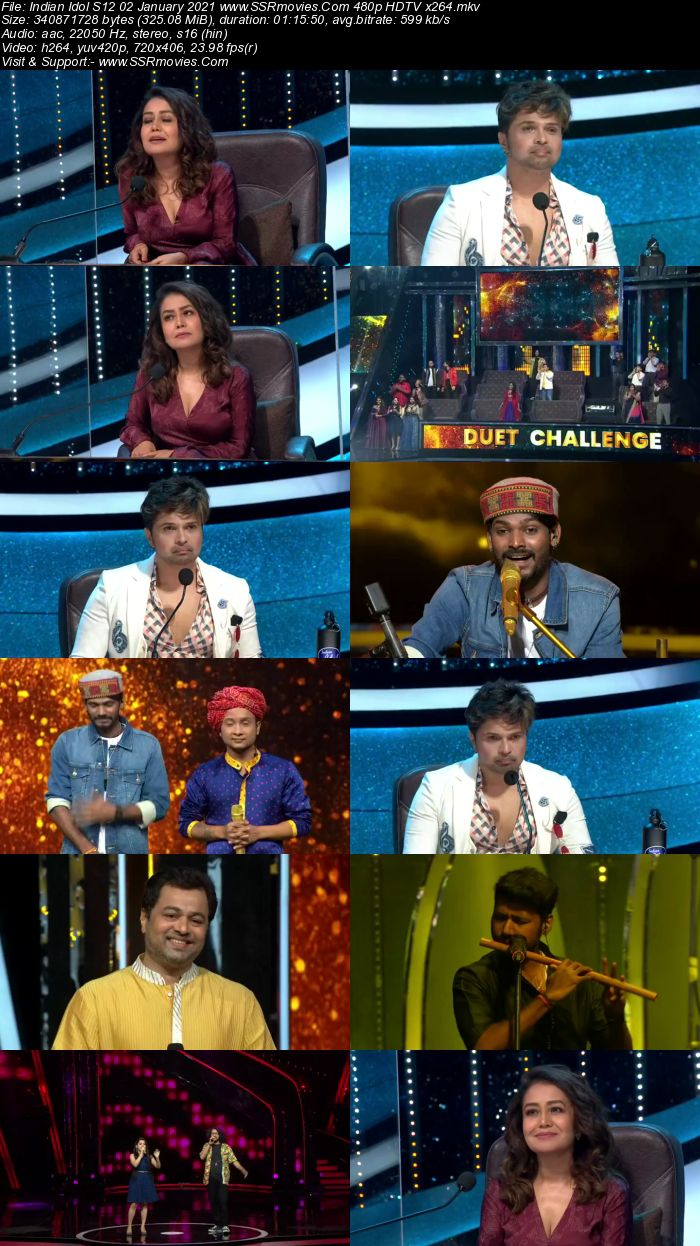 Indian Idol 02 January 2021 480p 720p HDTV x264 300MB Download