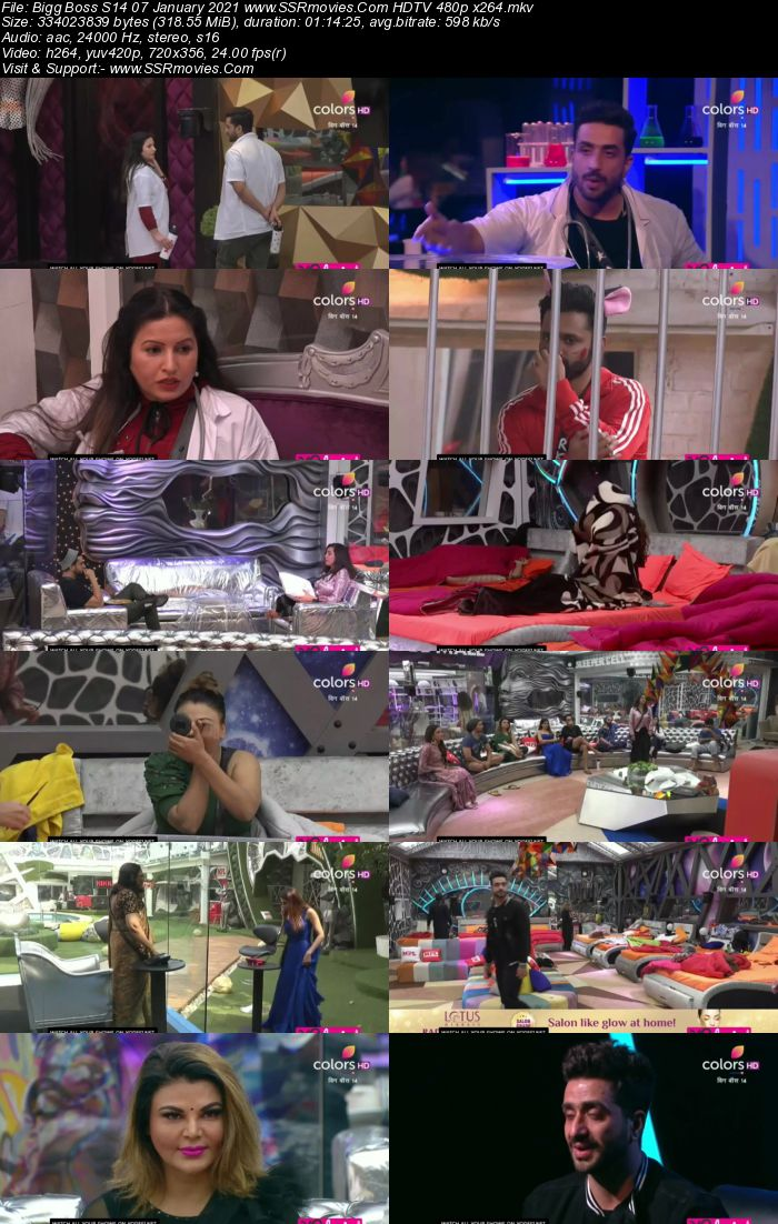 Bigg Boss S14 7th January 2021 HDTV 480p 720p 500MB Download