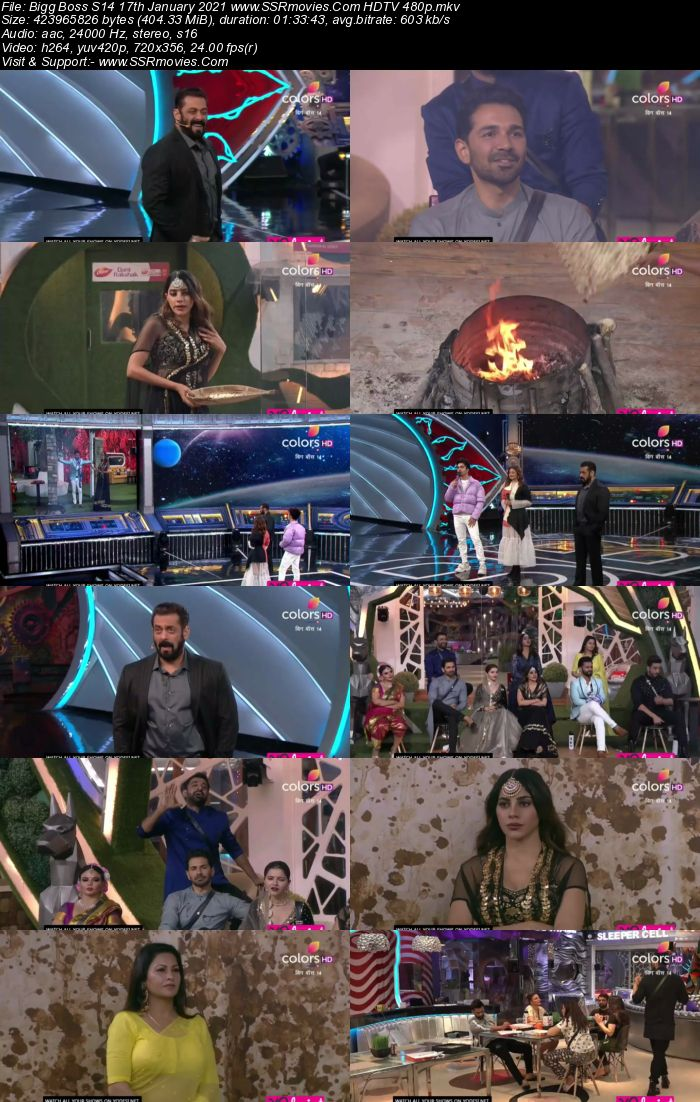 Bigg Boss S14 17 January 2021 HDTV 480p 720p 500MB Download