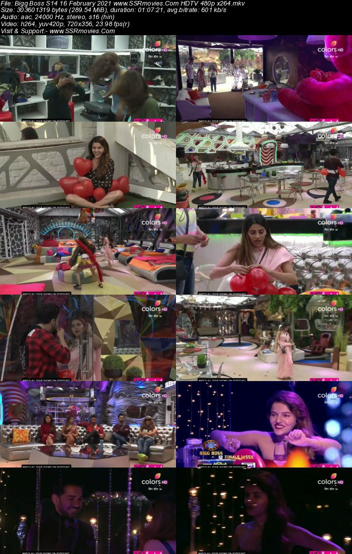 Bigg Boss S14 16th February 2021 HDTV 480p 720p 500MB Download