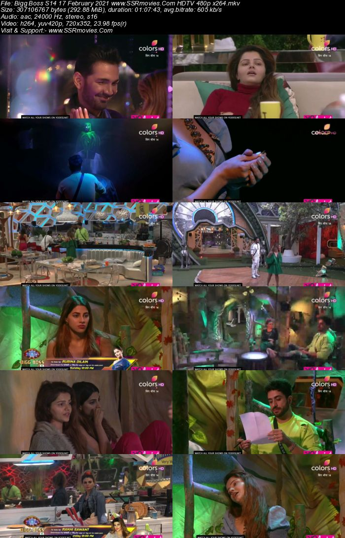 Bigg Boss S14 17th February 2021 HDTV 480p 720p 500MB Download