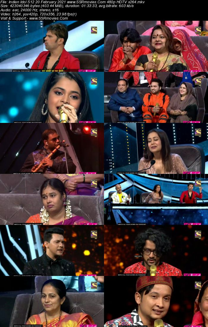 Indian Idol S12 20th February 2021 480p 720p HDTV x264 300MB Download