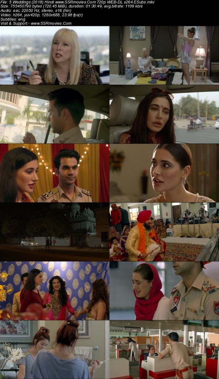 5 Weddings (2018) Hindi 720p WEB-DL x264 700MB Full Movie Download