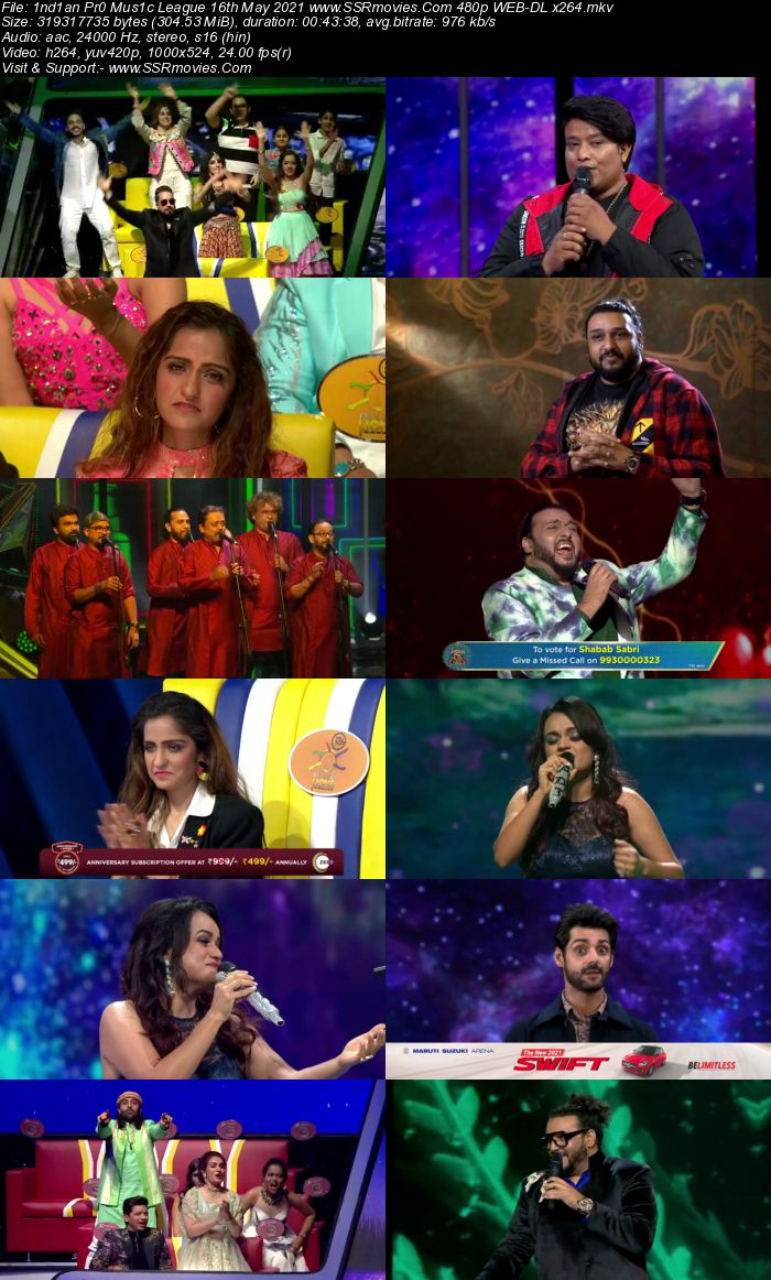 Indian Pro Music League 16th May 2021 480p WEB-DL 300MB Download