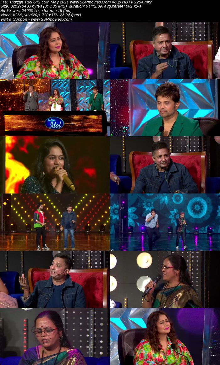 Indian Idol S12 16th May 2021 480p 720p HDTV x264 550MB Download