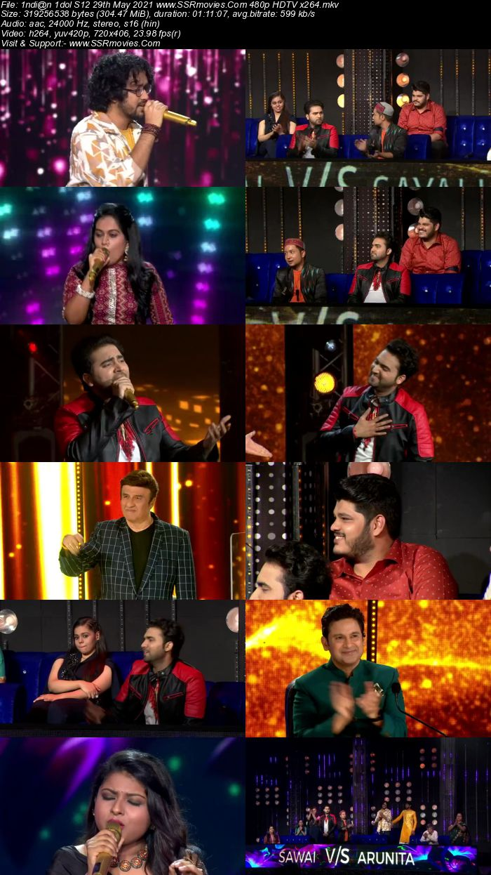 Indian Idol S12 29th May 2021 480p 720p HDTV x264 300MB Download